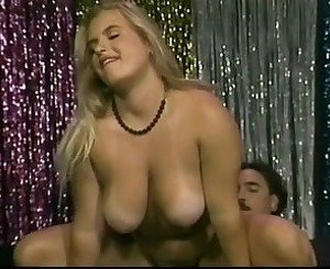 Chubby blonde brushing her hairy pussy big tits