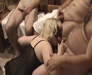 Russian gangbang with slut wife