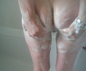 mature blonde wife in the shower