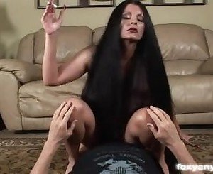 Smoking long haired bitch fucked