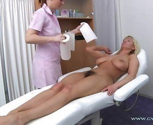 Vanessa - Busty and Haired MILF Gyno Exam
