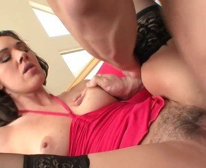 Power cumshot for slim milf cougar in stockings fucks
