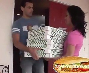 Sexy hot pizza girl hard fucked with blowjob and take pizzas