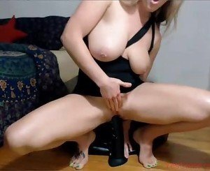 Hot Wife Rides Big Black dildo and Squirts