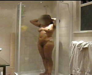 Indian girlfriend showering