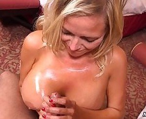 Hot big tits blonde MILF does first porn for MomPov