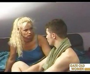 Blonde granny ass fucking with young guy