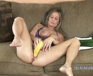 Leeanna Heart masturbates with a cucumber