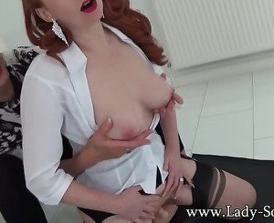 Lady Sonia and Red XXX hot Lesbian sybian fun