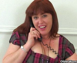 British milf Janey exposes her hairy pussy