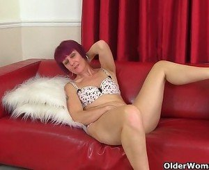 British milf Penny strips off and fingers