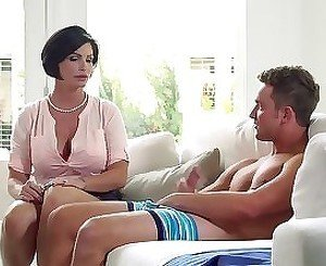 Hottest MILF with massive boobs is slowly riding a boner