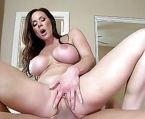 Busty milf tits fucked by horny bald guy on the bed