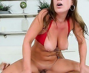 Seduced milf tries out a massive hard wiener
