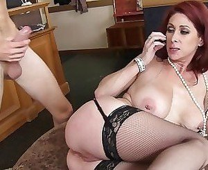 Brutal and painful anal penetration for a redhead mommy