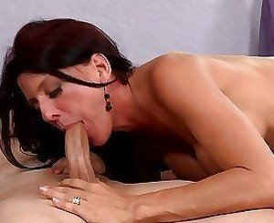 Dick-swallowing milf is trying hard to please my boner