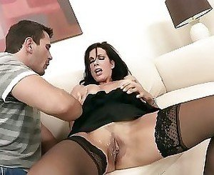 Couch fucking featuring a brunette on a big white couch